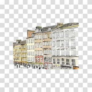 Drawing Art Painting Sketch, Watercolor European city PNG clipart