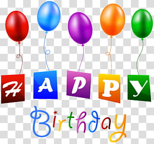 Birthday Balloon , Happy Birthday with Balloons , Happy Birthday text PNG clipart