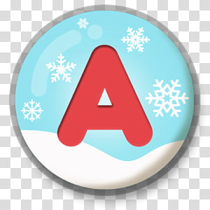 white, red, and teal snowflake and a logo, Letter A Snowy Roundlet PNG