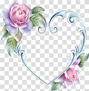 pink flowers illustration, Heart Rose Frames, heart PNG