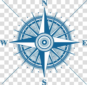 blue and white direction illustration, Rim Circle Graphic design Area, Blue compass PNG