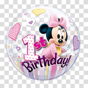 Minnie Mouse 1st birthday balloon, Minnie Mouse Mickey Mouse Winnie the Pooh Balloon Birthday, 1st birthday PNG