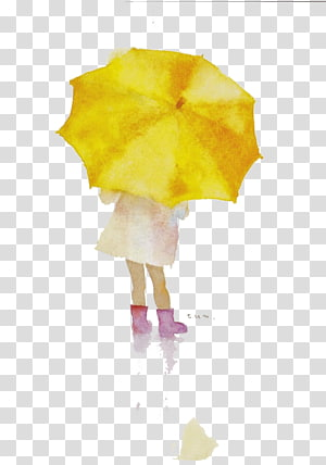 girl with yellow umbrella , Illustrator Drawing Watercolor painting Art Illustration, Umbrella little girl PNG