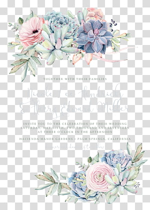 Wedding invitation Paper Succulent plant, bohemian, green and pink succulents PNG clipart