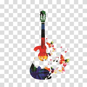 multicolored floral guitar illustration, Guitar Musical instrument Illustration, music PNG