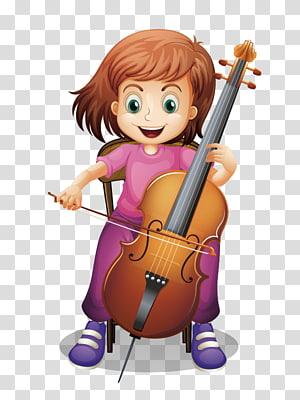 cartoon hand drawn cello girl PNG