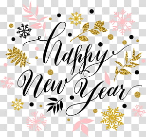 Happy New Year illustration, New Years Day Wish New Years resolution New Year card, Squiggle Happy New Year PNG