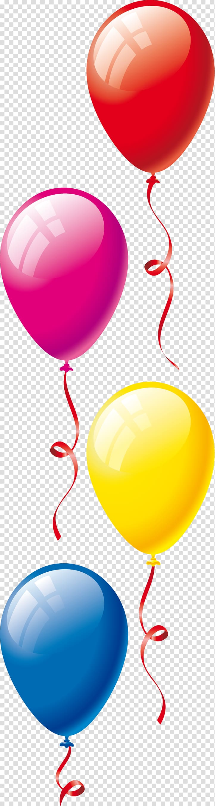 four assorted-color balloons illustration, Toy balloon Birthday Party , ballons PNG clipart
