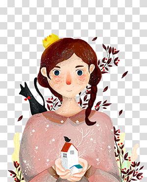 Illustration, Cute little girl illustration material PNG clipart