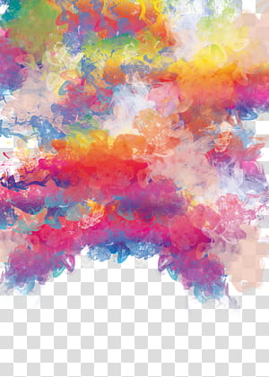 Watercolor painting, Color watercolor shading material, yellow, orange, and pink abstract painting PNG clipart