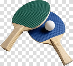 blue and green tennis table rackets, Ping Pong Bats Ball PNG