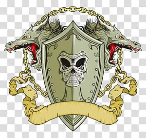 gray dragon head and shield logo, Shield Dragon Illustration, Skull Shield PNG