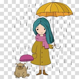 girl holding umbrella , Cartoon Drawing Illustration, Girl holding an umbrella PNG clipart