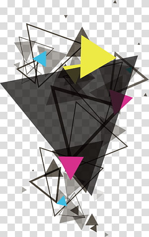 Triangle Geometry Euclidean , Triangular geometry, yellow, pink, and black triangular illustration PNG