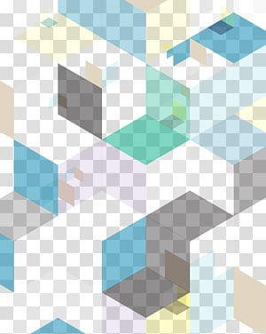Geometry Gradient Euclidean Abstraction, Abstract geometric gradient block, blue, green, and brown PNG clipart