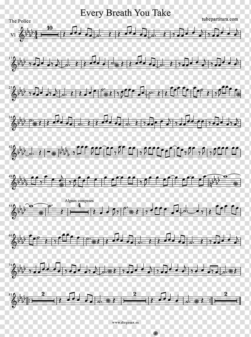 Every Breath You Take Sheet Music Flute Violin, sheet music PNG clipart