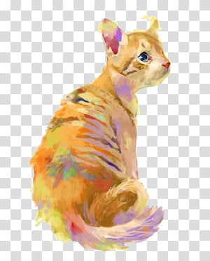 Cat Color Illustration, Painted Cats PNG