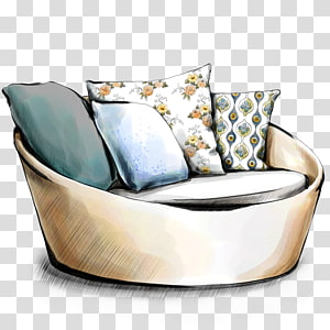 throw pillows on top beige cuddle chair drawing, Interior Design Services Drawing Sketch, Sofa cushion PNG