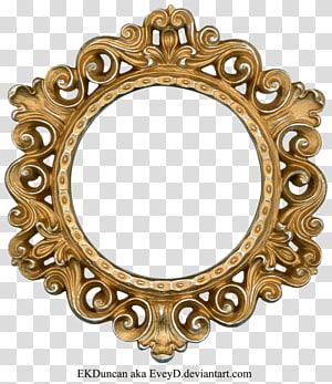 brown wooden ornate frame, frame , Golden Round Frame PNG clipart