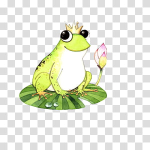 Tree frog Cartoon Illustration, Smiling frog material PNG clipart