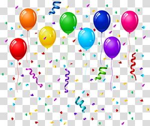 party balloons illustration, Birthday cake Balloon Party Greeting card, Confetti and Balloons PNG clipart