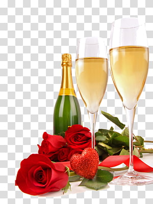 glass beverage bottle with two wine glasses and roses, Champagne Rosxe9 Valentines Day Heart Bottle, Champagne PNG