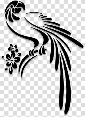 Parrot Bird Silhouette Stencil, Islamic graphic PNG