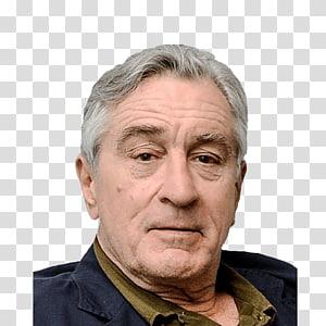 man in black and brown collared top, Robert De Niro Face PNG