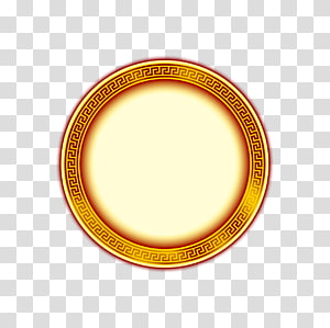 round yellow illustration, Material Yellow Circle, Chinese style round frame yellow round totem PNG