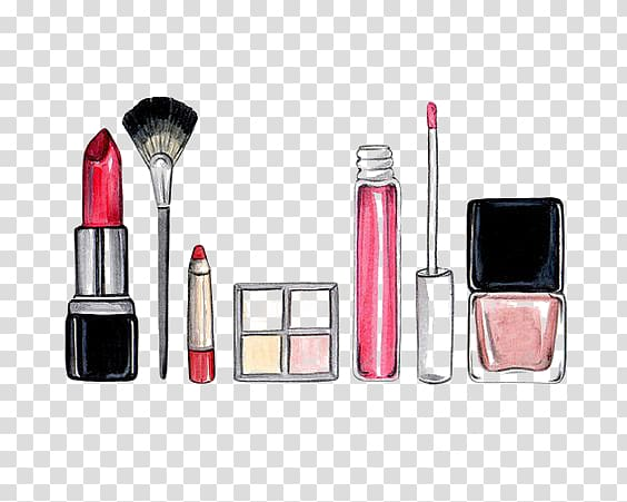 Cosmetics Drawing Make-up artist Makeup brush Eye shadow, Cartoon Cosmetics, red lipstick, makeup palette and makeup brush drawing illustration PNG clipart