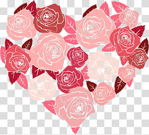 Valentine\'s Day Blessing Heart Greeting & Note Cards, flower heart PNG
