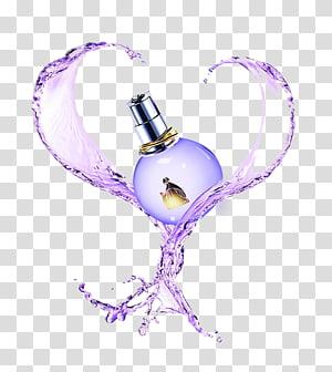 purple fragrance with splash of water illustration, Perfume Arpège Lanvin Eau de toilette Chanel, perfume PNG clipart