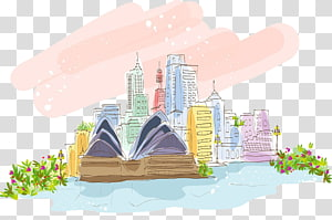 Sidney Opera House illustration, Sydney Opera House Sydney Harbour Bridge Watercolor painting, sydney theater watercolor PNG clipart