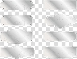 eight silver plate illustrations, Metal Silver, Metal silver sign plate PNG
