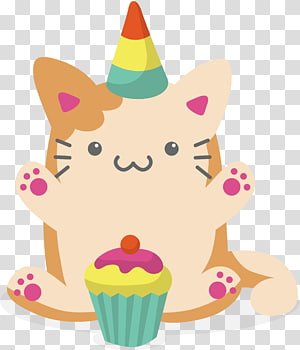 white and brown cat and cupcake illustration, Lovely cat for birthday PNG clipart