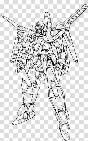 Drawing Line art Gundam Villain, gundam PNG