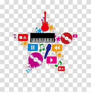 Star musical elements PNG clipart
