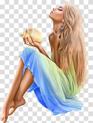 Woman Drawing Girl on the Beach 2, woman PNG clipart