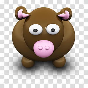 brown cow illustration, carnivoran bear pig like mammal snout , BrownCow PNG clipart