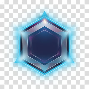 hexagon blue and gray border, Metal shield effects PNG