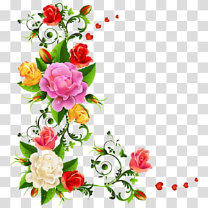 pink, red, and yellow flowers , Flower bouquet Color , floral pattern PNG