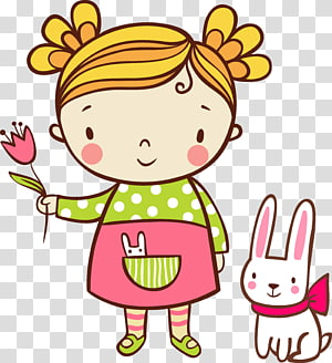 Child Illustration, girl holding flowers PNG clipart