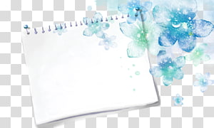 white notebook and blue flowers illustration, Watercolor painting Drawing, Sketchbook blue flowers background PNG clipart