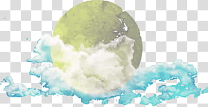 full moon covered with clouds, Watercolor painting Computer file, hand painted watercolor moon PNG clipart