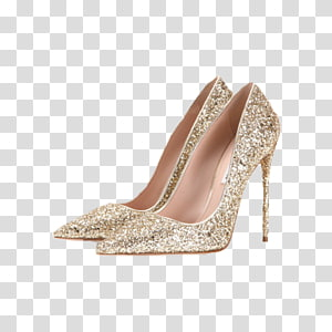 gold glitter pointed-toe stilettos, High-heeled footwear Court shoe Gold Jewellery, Gold high heels PNG clipart