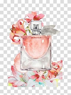 spray bottle beside flowers illustration, Perfume Bottle Painting, perfume PNG clipart