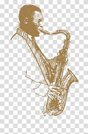 man playing saxophone illustration, Smooth jazz Swing music Musician, jazz PNG