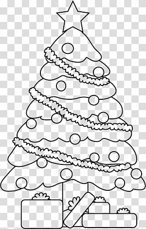 Line art Drawing Christmas tree, christmas tree PNG