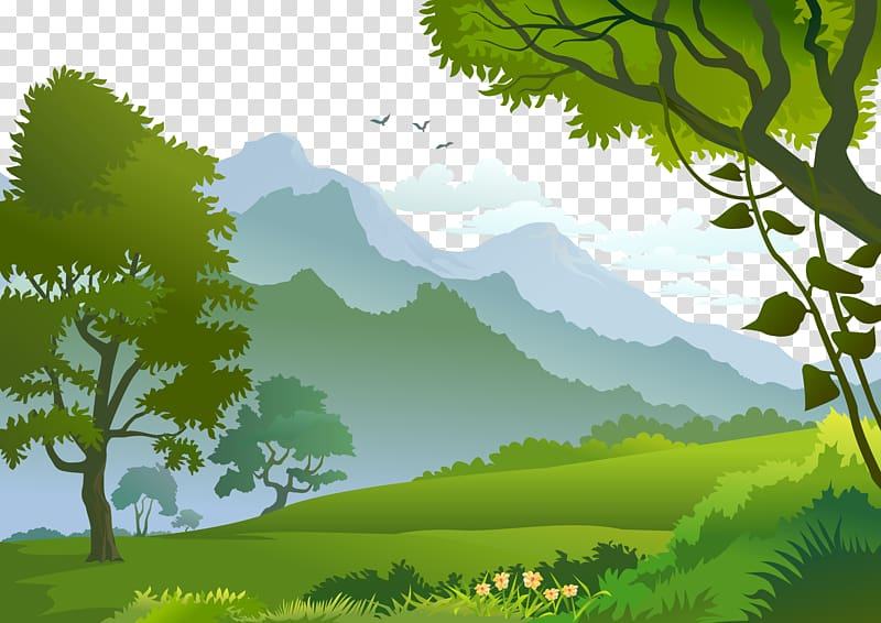 Forest Landscape Illustration, Forest, trees and mountains illustration PNG clipart