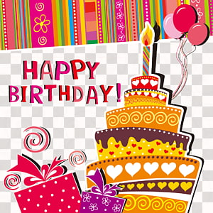 multicolored Happy Birthday art, Greeting card Birthday cake Wedding invitation , Cartoon Happy Birthday background PNG clipart